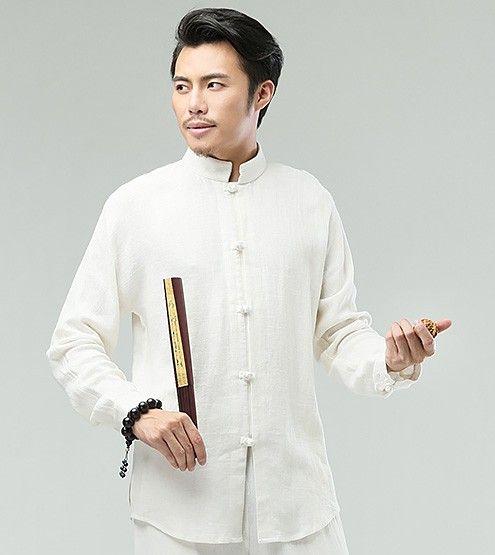 White Commoner Chinese Kung Fu Style Men's Shirt   costura