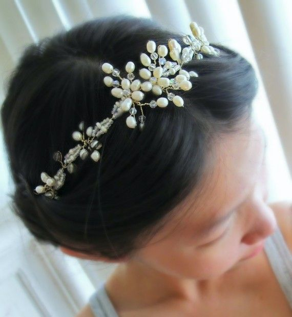 Wedding Hairstyles For Bows Buds Tiaras And More From: White Buds Of Spring Freshwater Pearl Ivory By