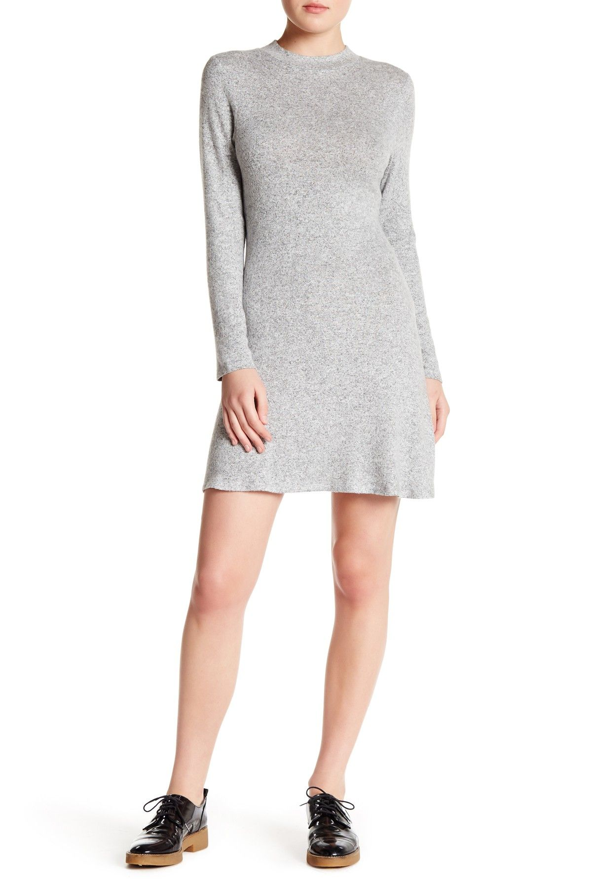 Mock Neck Melange Dress