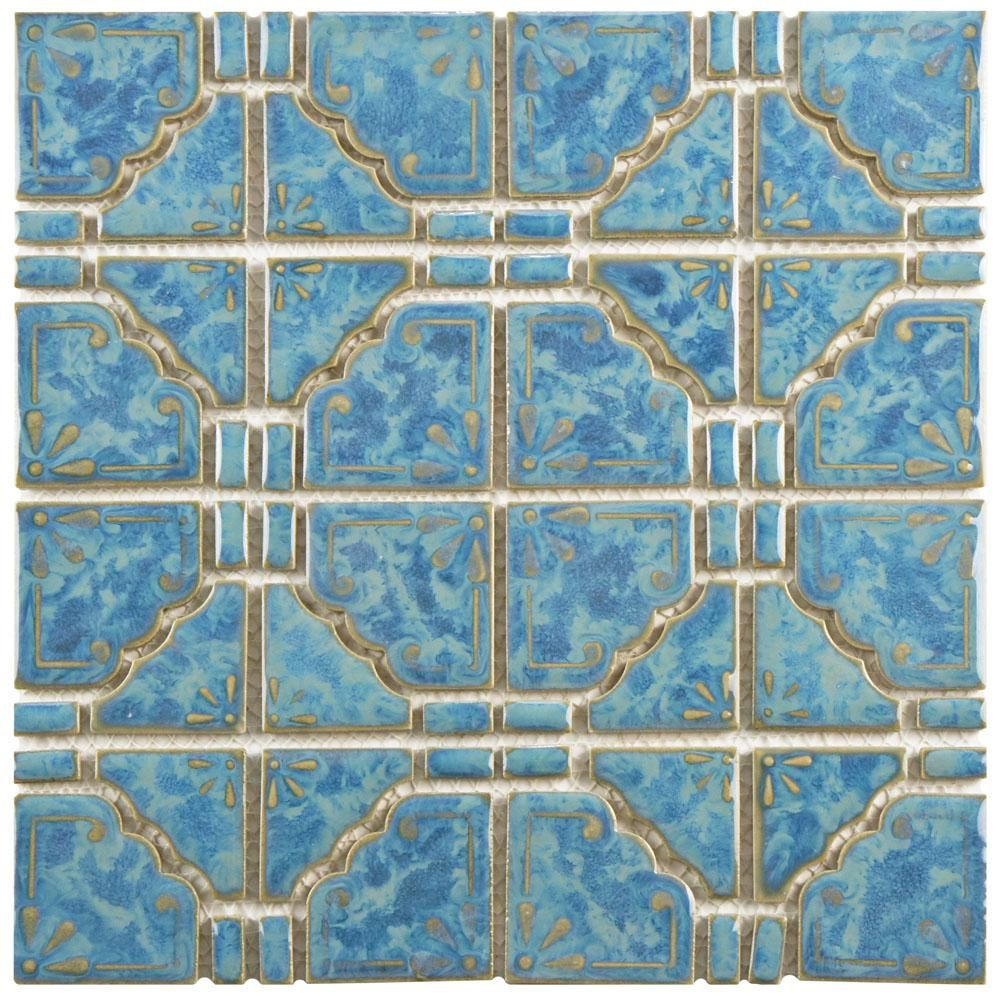 Merola Tile Moonbeam Pacific Blue 11-3/4 in. x 11-3/4 in. x 7 mm ...
