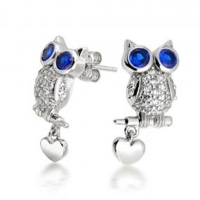 Bling Jewelry Blue Sapphire Color CZ Owl Stud Earrings