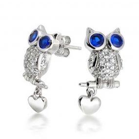 Bling Jewelry Blue Sapphire Color CZ Owl Stud Earrings