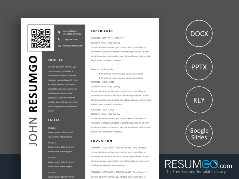 Ptolema Modern Resume Template With Qr Code Resumgo Com Modern Resume Template Resume Template Modern Resume