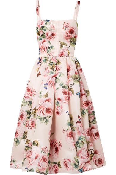10e92e63 DOLCE & GABBANA Pleated floral-print silk-organza midi dress. #dolcegabbana  #cloth #