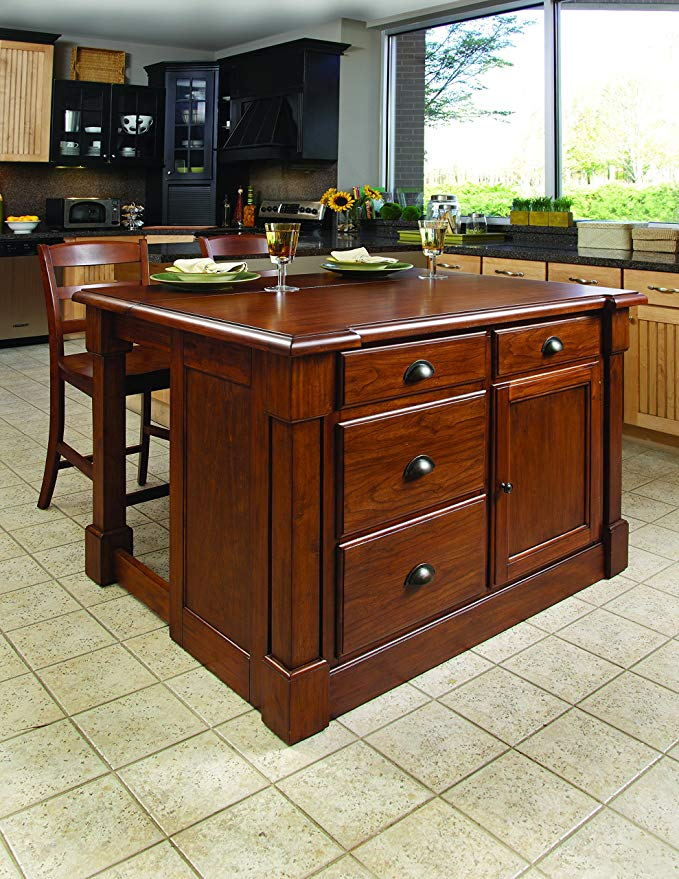 Amazon Com Aspen Rustic Cherry Kitchen Island With 2 Stools By Home Styles Kitche Wood Kitchen Island Kitchen Island With Seating Stools For Kitchen Island