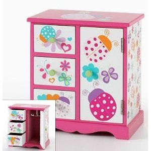 Girls Wooden Jewelry Box Ladybug Floral Hearts with Drawers Door