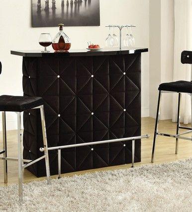 Doreen Chrome Black Velvet Bar Table Set Bar Table Sets Bar Table Home Bar Counter