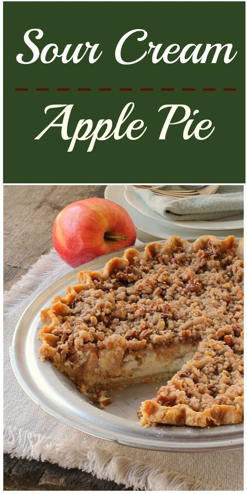 Sour Cream Apple Pie...The creamy filling almost makes you feel like your eating cheesecake, and then you get the crunch from the topping with the cinnamon flavor and it's like…WOW! #applepie