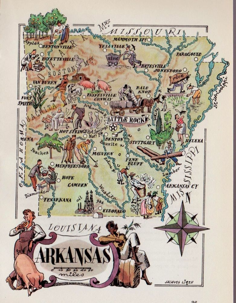 1950s Vintage ARKANSAS Picture Map Pictorial Arkansas State Map