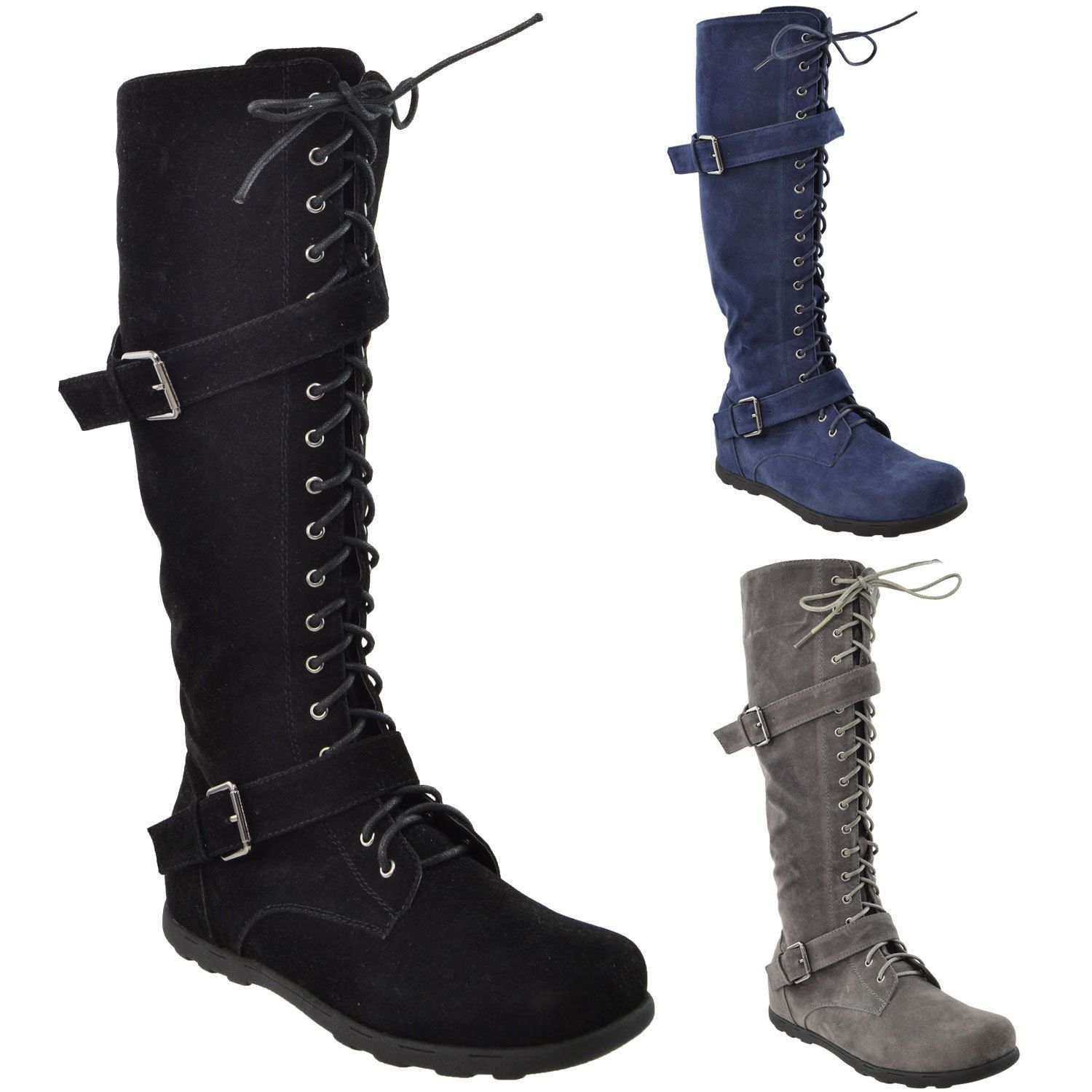 bba50d9a7c8 Womens Flat Knee High Boots Lace Up Suede Buckles Comfort Winter Lady S  Shoes
