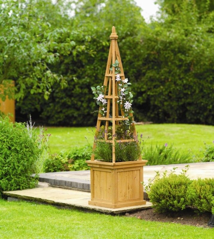 Wooden Obelisk Flower Garden Planters Set Of By Gardman