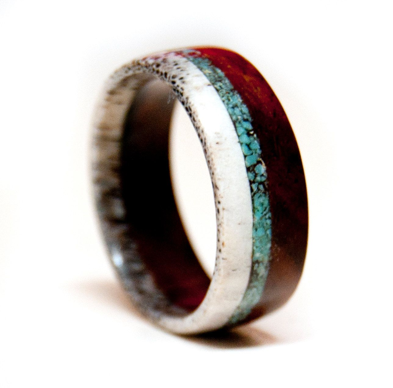 wood and antler ring band with turquoise inlay unique wedding band