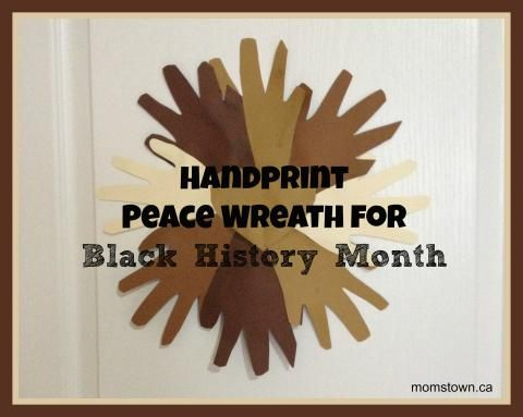 Black history month handprint peace wreath to remind kids for Black history month craft