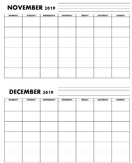 Editable Blank Template November December 2019