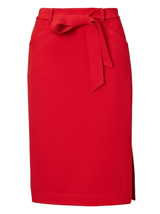 26378aeb7c Banana Republic Womens Belted Pencil Skirt With Side Slit Red ...
