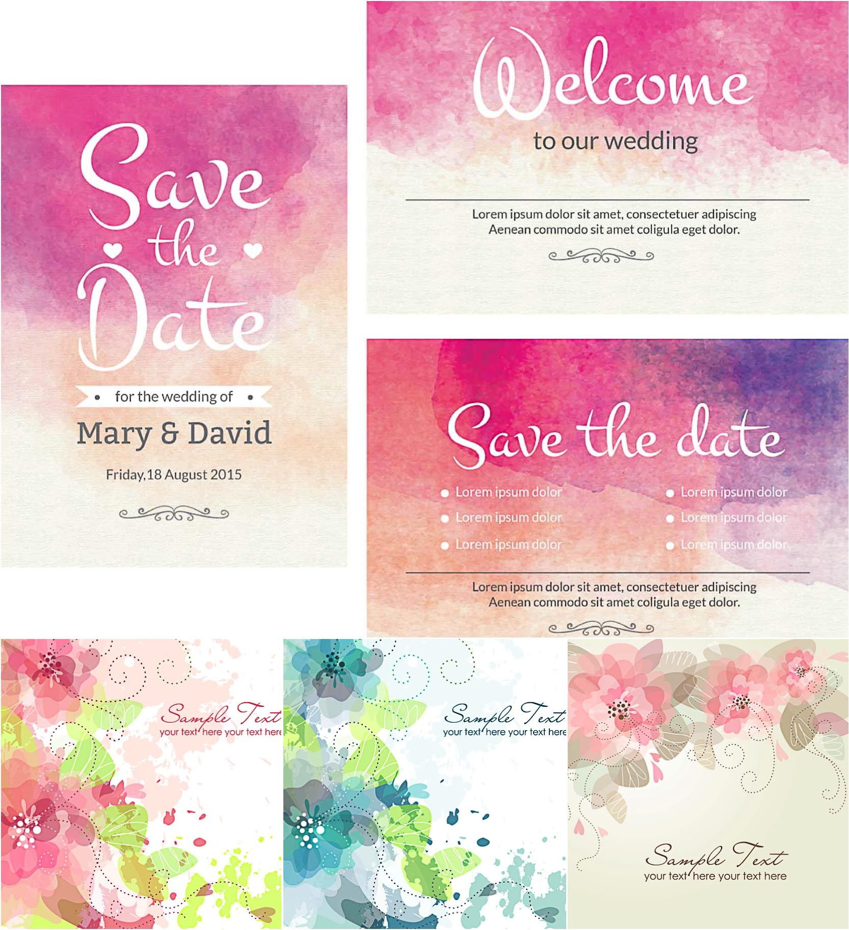 Watercolor wedding cute cards vector watercolor design watercolor lovely wedding invitation cards with watercolor design set vector stopboris Images