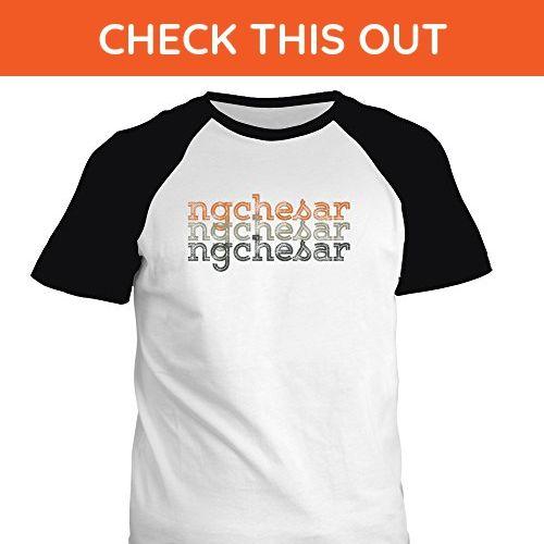 Idakoos - Ngchesar repeat retro - Cities - Raglan T-Shirt - Cities countries flags shirts (*Amazon Partner-Link)