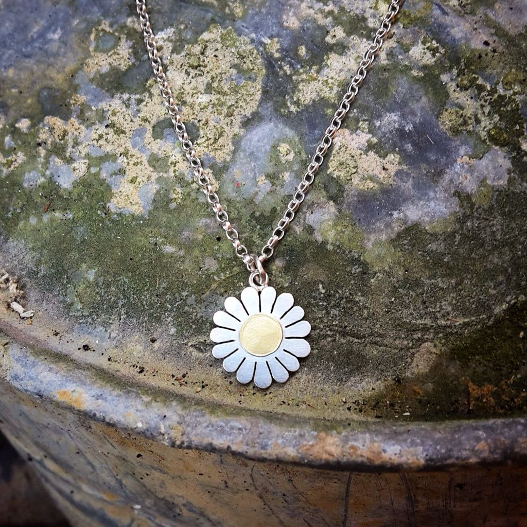 Large daisy pendant in silver and 18ct gold by Diana Greenwood