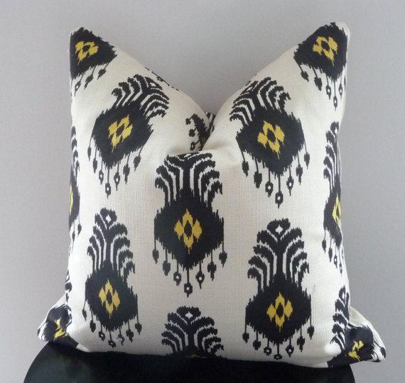 SALE Black And Yellow Ikat Nate Berkus Decorative Pillow Cover New Nate Berkus Decorative Pillows