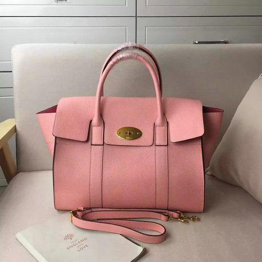 1926def010 2017 Spring Mulberry Bayswater with Strap Macaroon Pink Grain Leather Mulberry  Bag