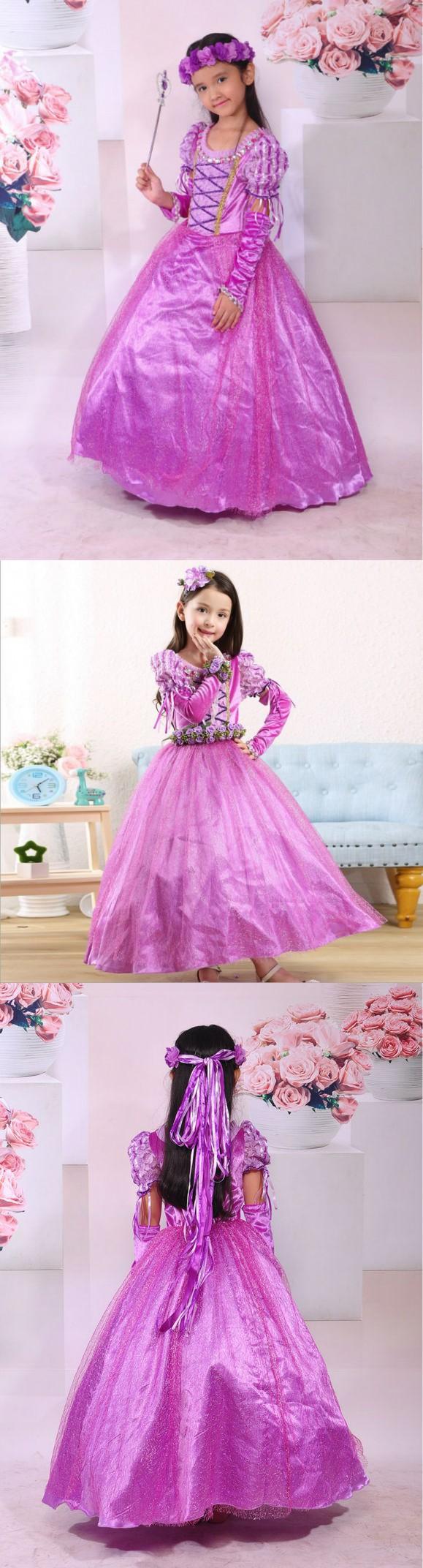 Rapunzel Princess girl dress Kids Girls Party Dress Halloween Xmas ...
