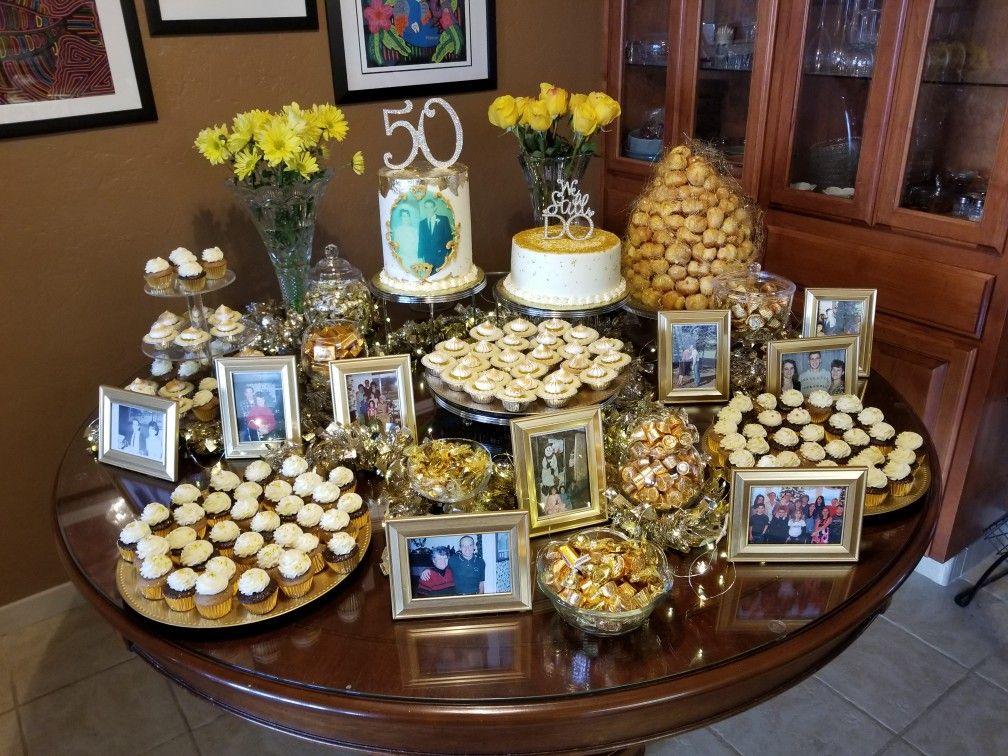 50th Anniversary Dessert Table 50th Anniversary Cakes 50th Wedding Anniversary Party 50th Anniversary Party Decorations