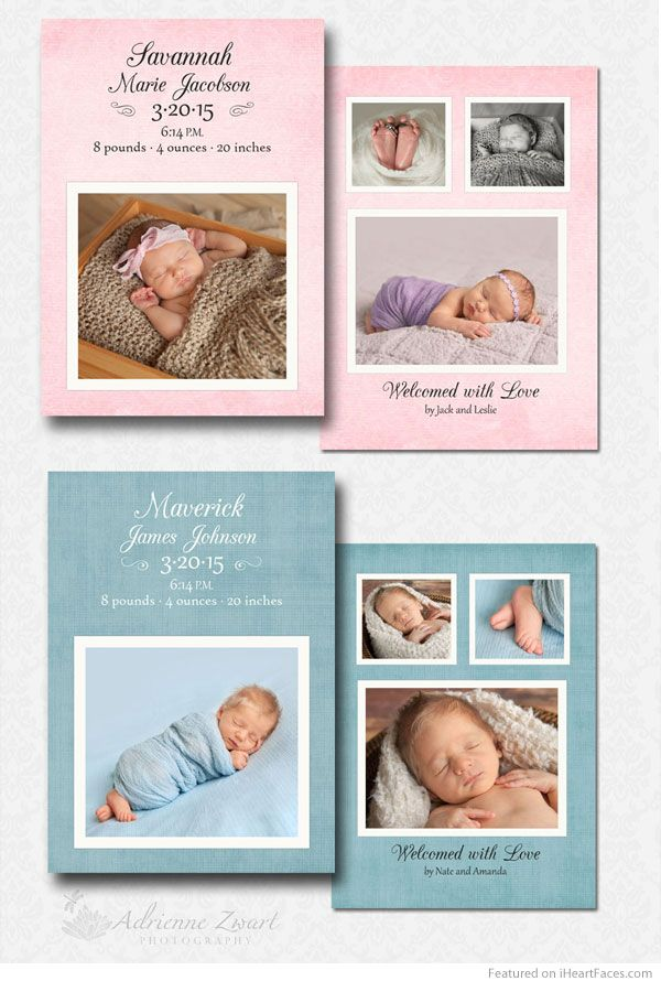 free baby boy and baby girl birth announcement templates for photoshop featured on i heart