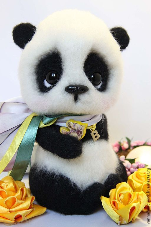 Игрушка из шерсти Панда Берни - чёрно-белый,войлок,войлочная игрушка,игрушка ручной работы