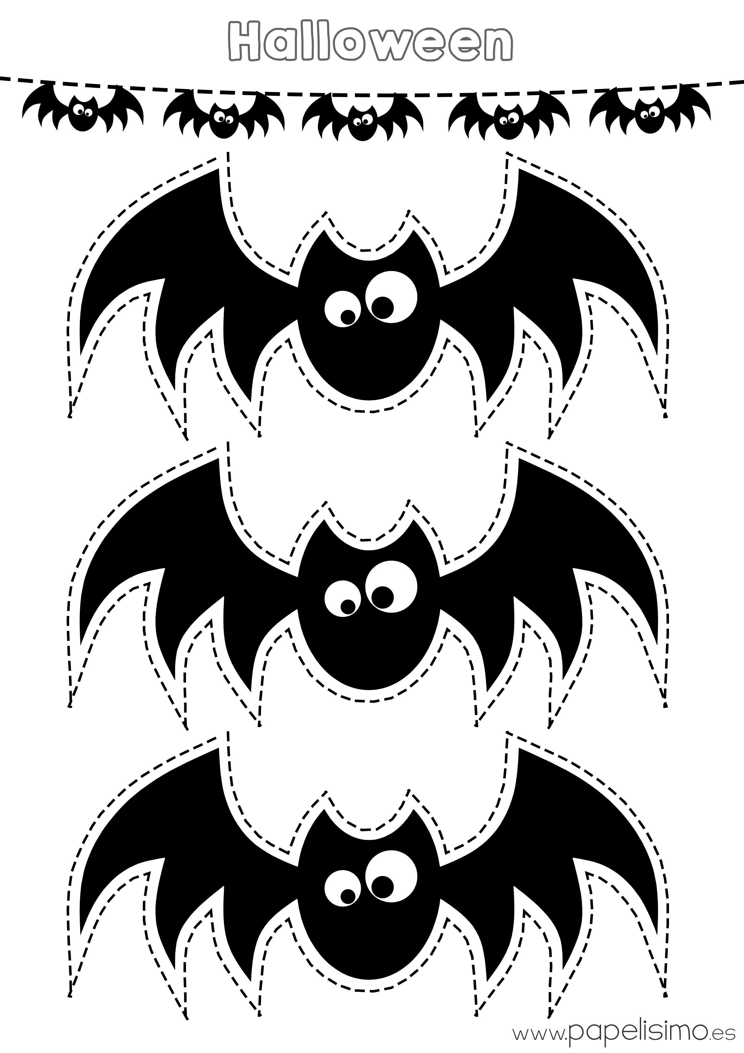 Plantilla murcielagos recortar guirnalda de papel - Murcielago halloween ...
