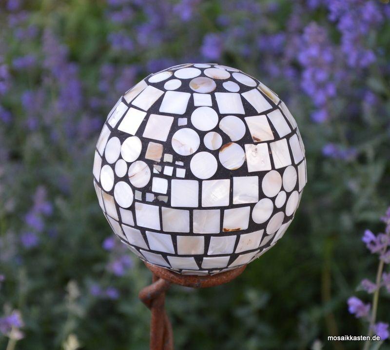 Rosenkugel Perlmutt 13 Cm   Mosaikkasten Gartendeko Aus Mosaik