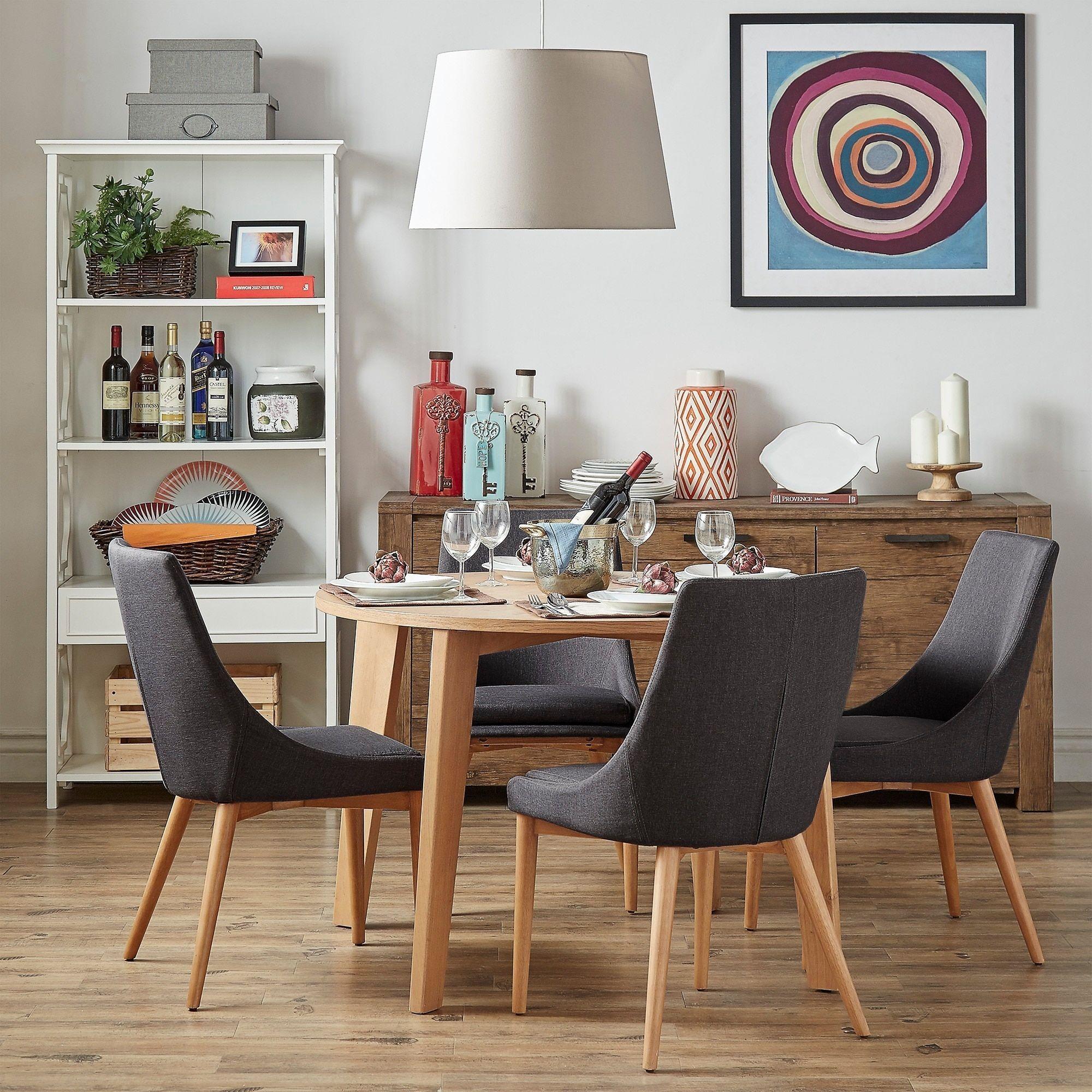Sasha Oak Angled Leg Round 5-piece Dining Set iNSPIRE Q Modern (Dark Grey)