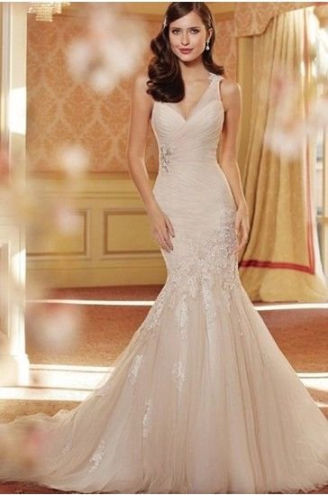 Trumpet/Mermaid Chapel Train V-neck Satin Fabric Coast Beach Wedding Dresses  with Ruched Style 5425121