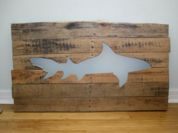 Shark Wall Art pallet shark wall art / wood wall art / beach home decor | wood