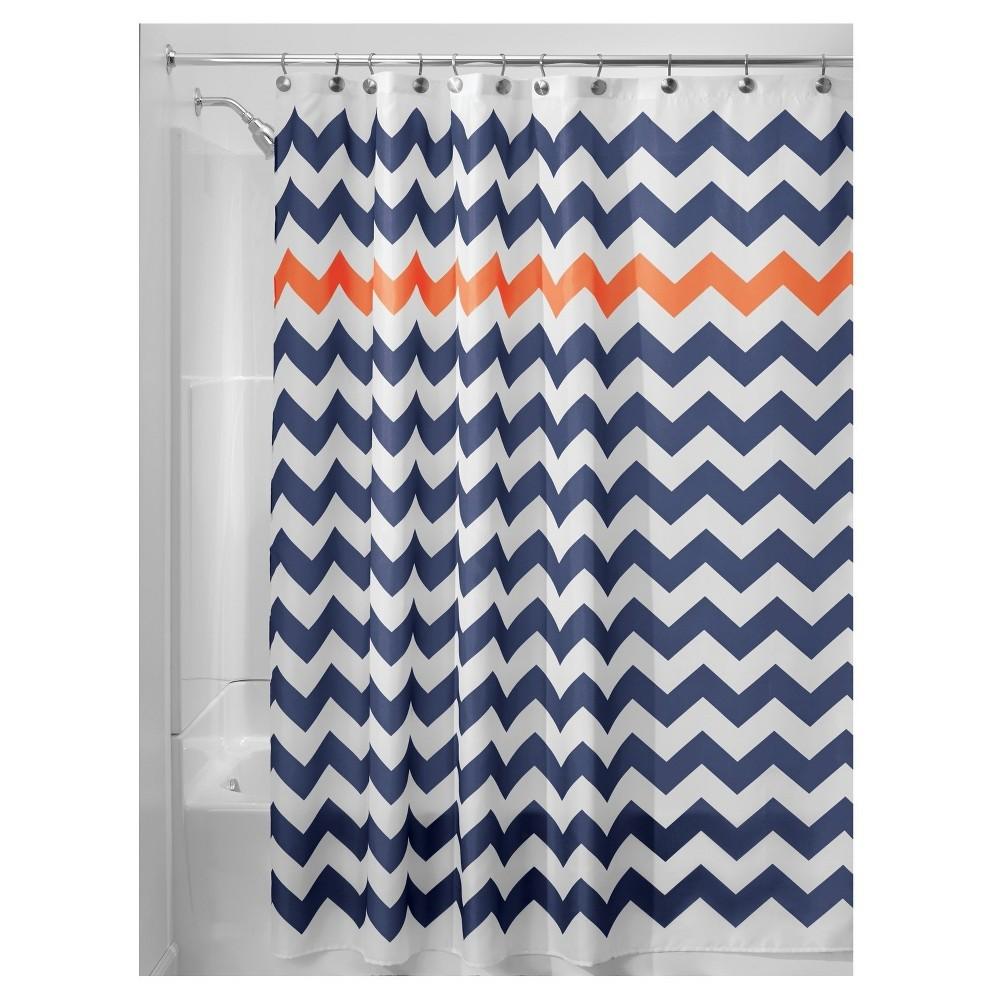 Shower Curtain Interdesign Chevron Navy Orange Size 72 X 72