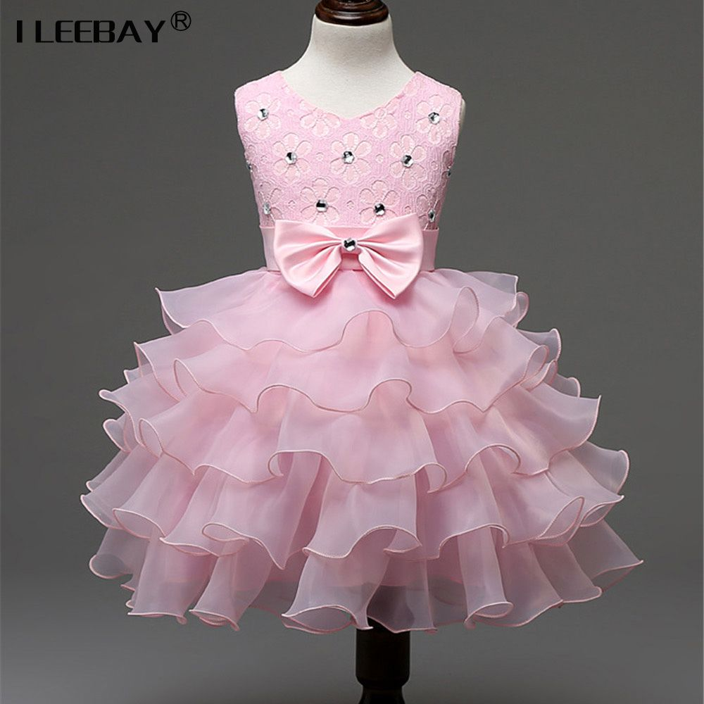 Girls Pink Diamante Bow Party Special Occasion Tutu Ruffle Dress