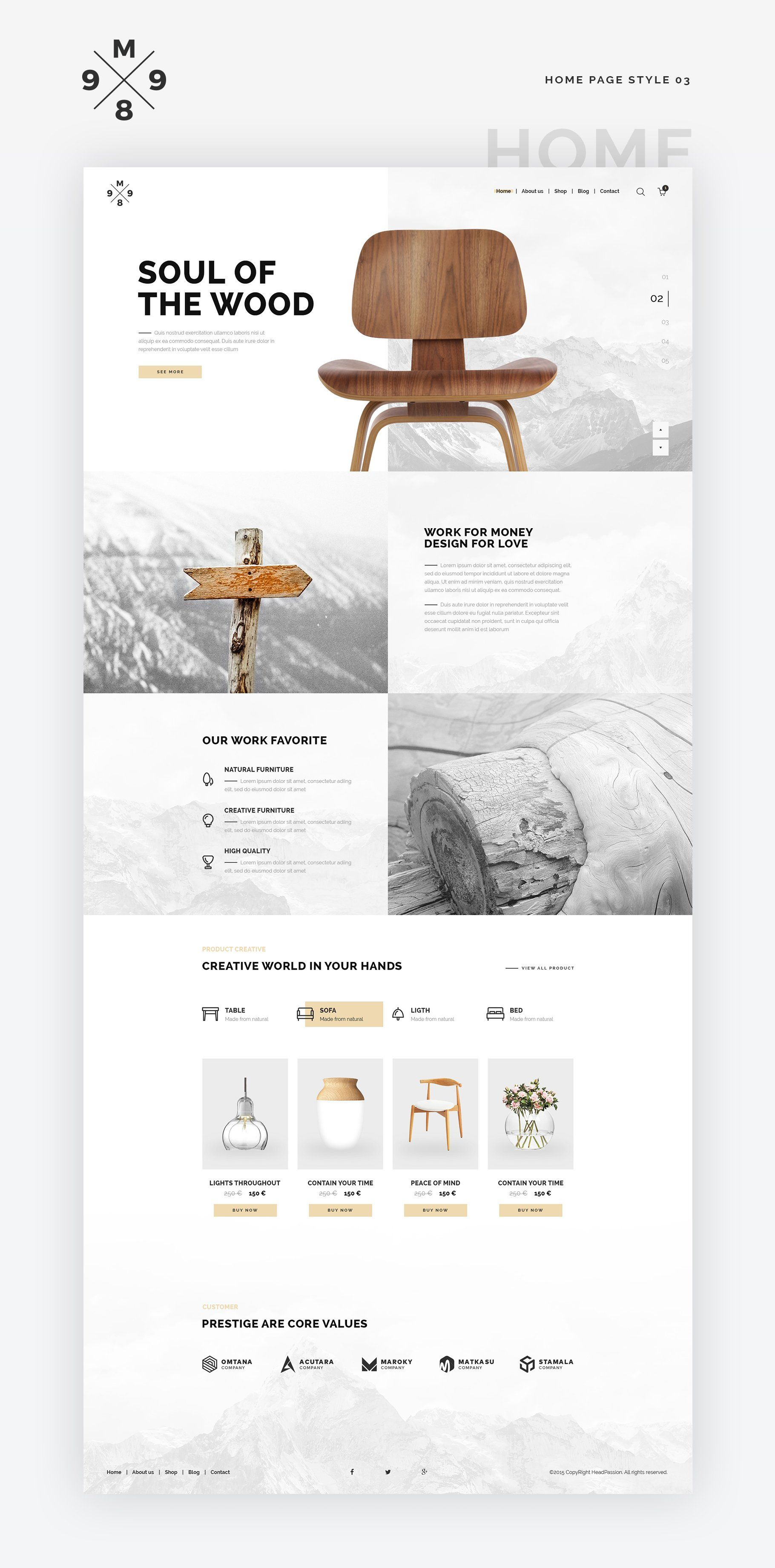 Photo of M989 Website Template Design UI Kit by Capi Creative. Minimalist and clean websi…