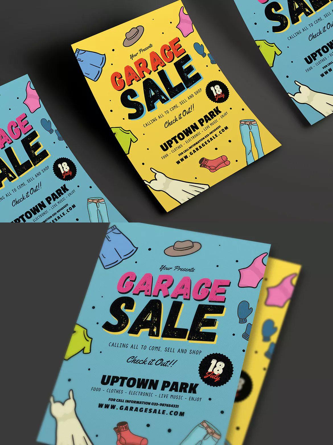retro garage sale flyer template ai psd a4 unlimiteddownloads