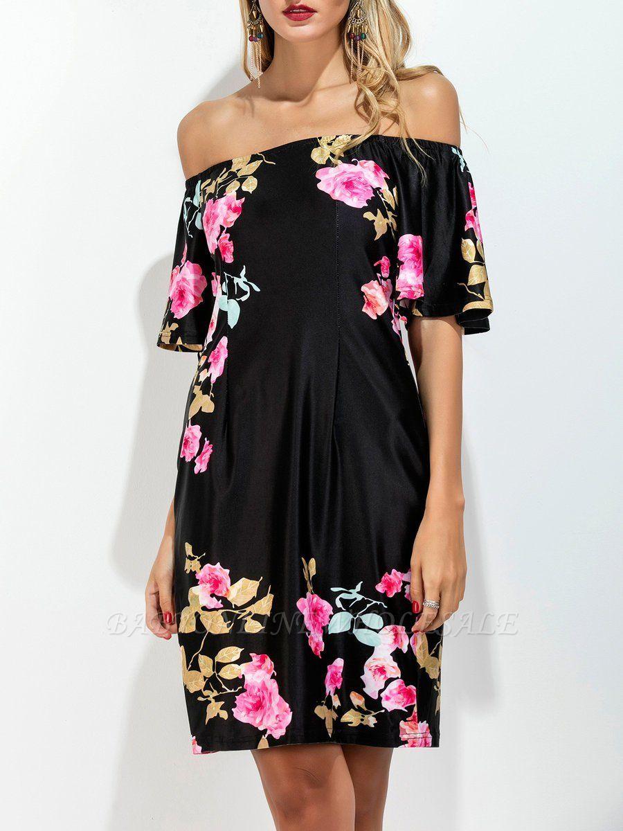 5b20b4f8c2 Off Shoulder Black Midi Dress Shift Daytime Dress Short Sleeve Cotton Floral-print  Floral Dress | www.babyonlinewholesale.com