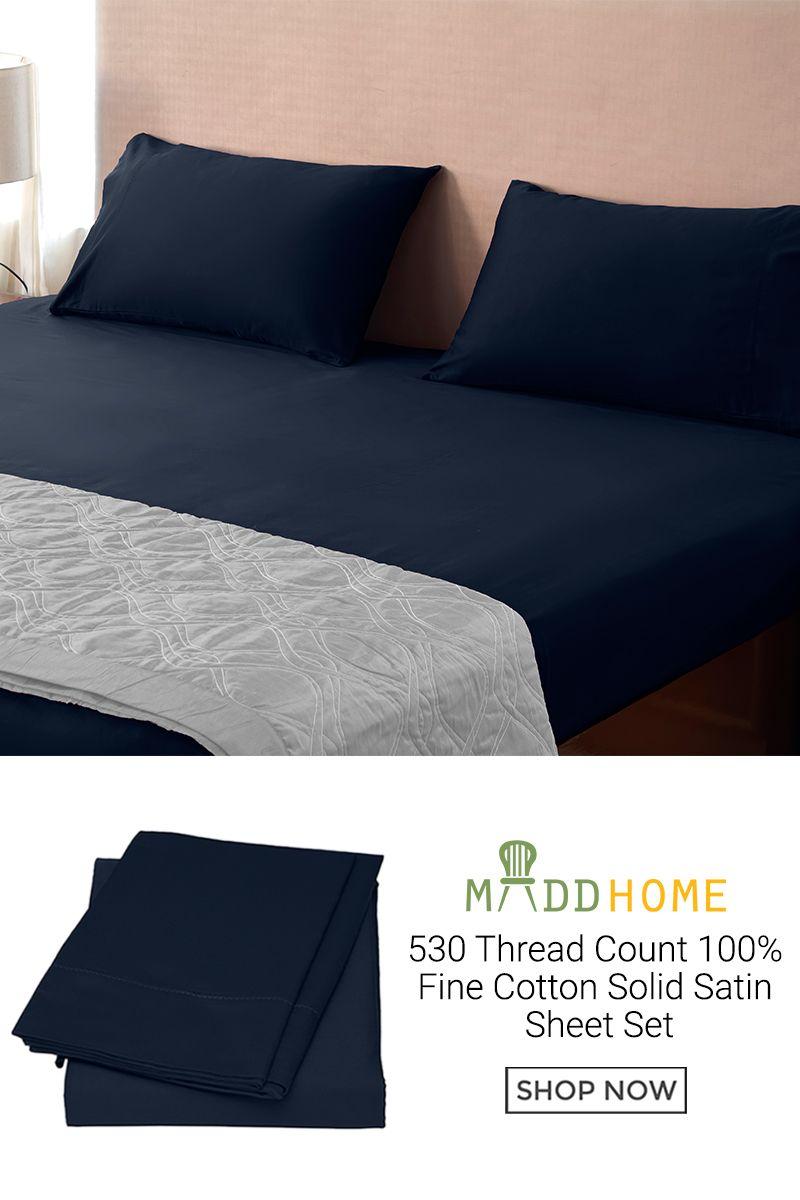 530 thread count 100 fine cotton solid satin sheet set satin