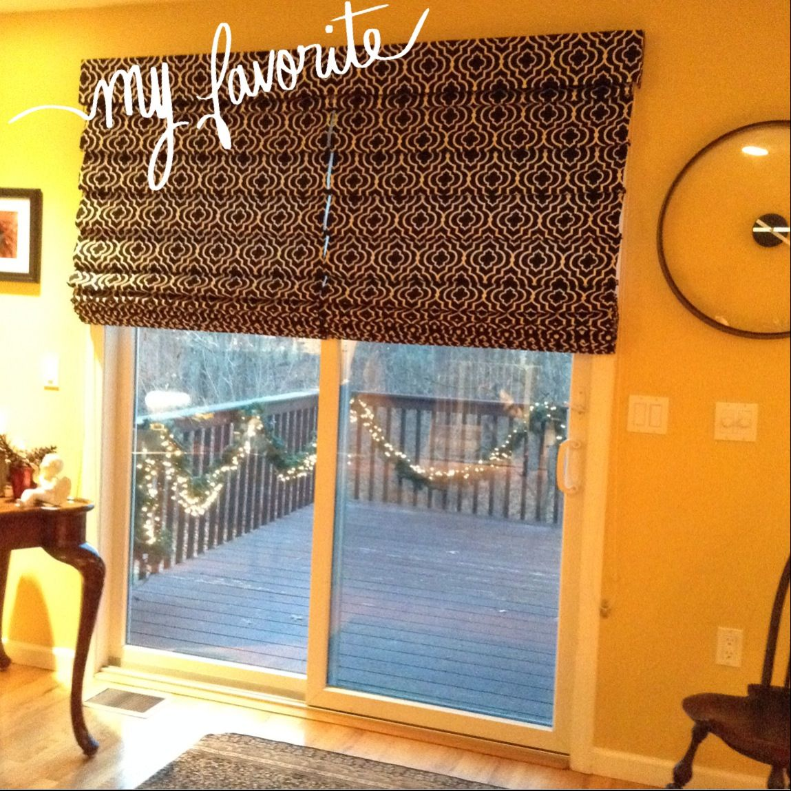 Roman shades from for sliding glass door