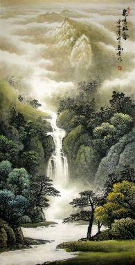 Mountains Waterfall Chinese Painting Chinese Landscape Asian Landscape Chinese Landscape Painting