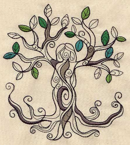 tree goddess urban threads unique and awesome embroidery designs zentangle and doodles. Black Bedroom Furniture Sets. Home Design Ideas