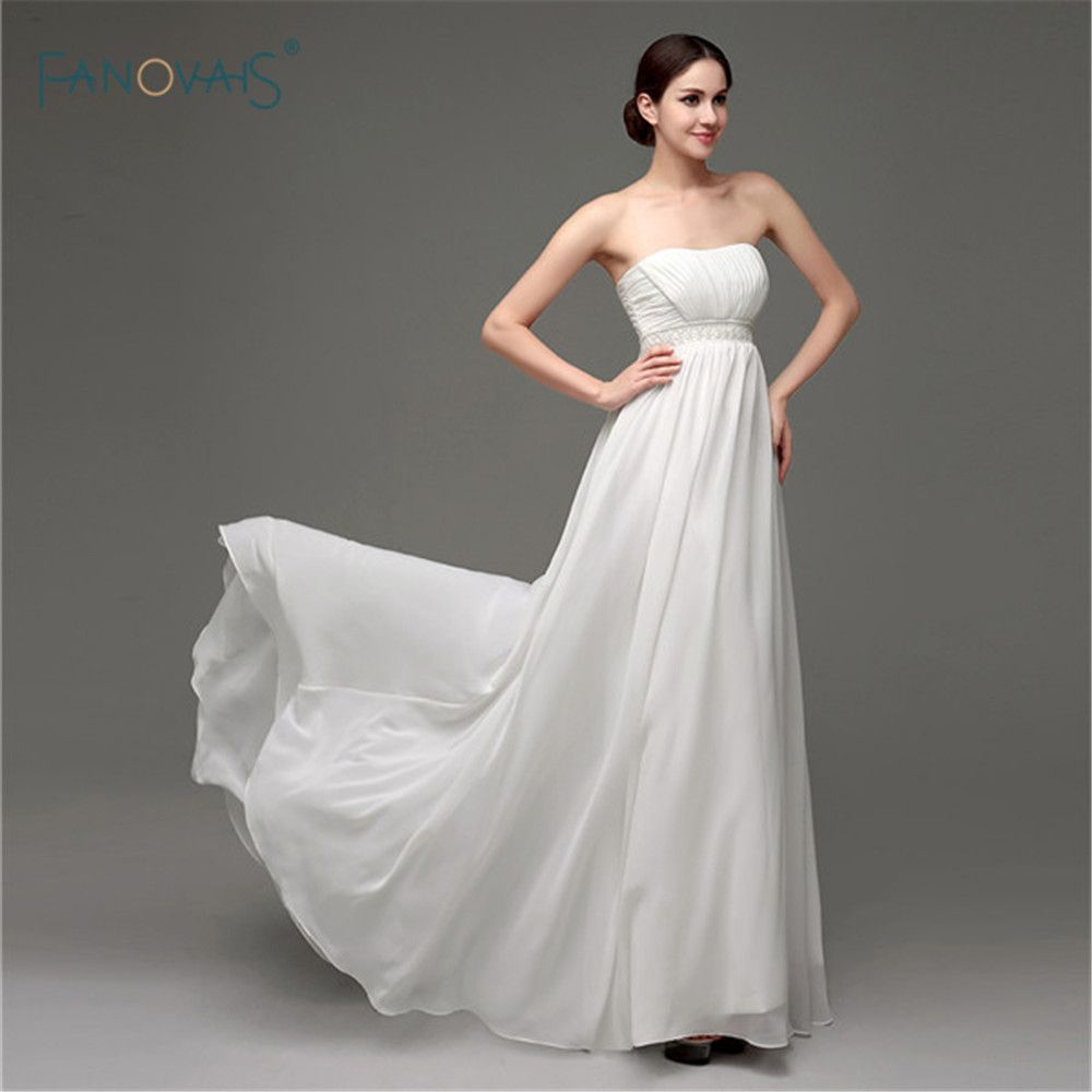 Click to buy ucuc cheap simple long bridal gown strapless aline