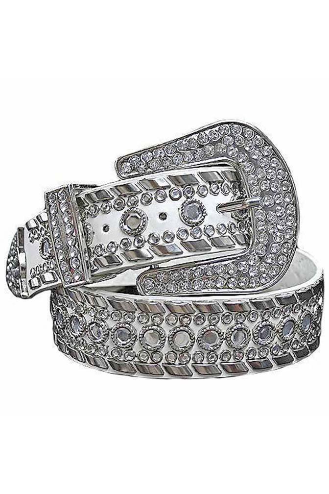Women Western Cowgirl Rhinestone Studded Bling Belt Luxury Designer Belt Brown