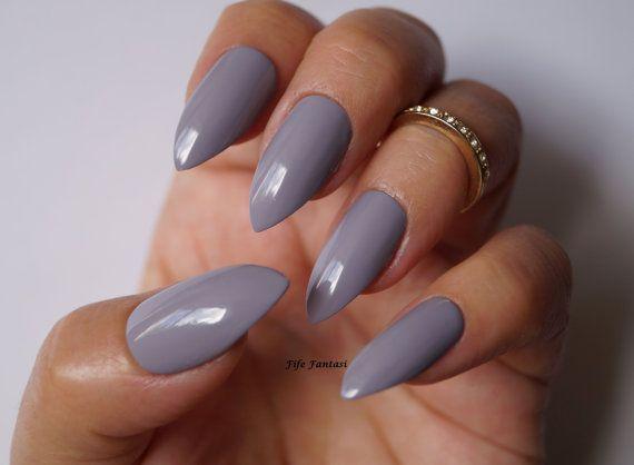 Grey Stiletto Nails Nail Art Nail Designs Nails Stiletto Nails Acrylic Nails Press On Nails Pointy Nails F Pointy Nails Almond Nails Designs Fake Nails