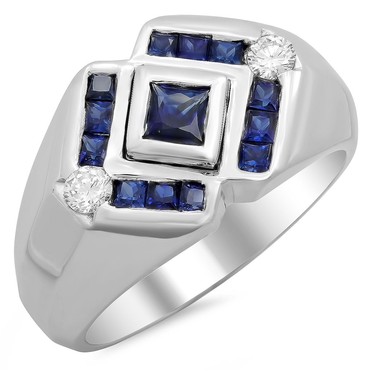 diamond m heart sterling sapphire tgw itm by ring white black miadora silver