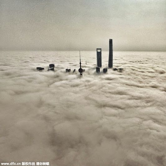 Shanghai above the clouds on Friday, the fifth day of Chinese Monkey year, when Money God is said to have visited the China's financial centre https://plus.google.com/+Simplifyyourlifepluschina/posts/DCaxsFRKtNx