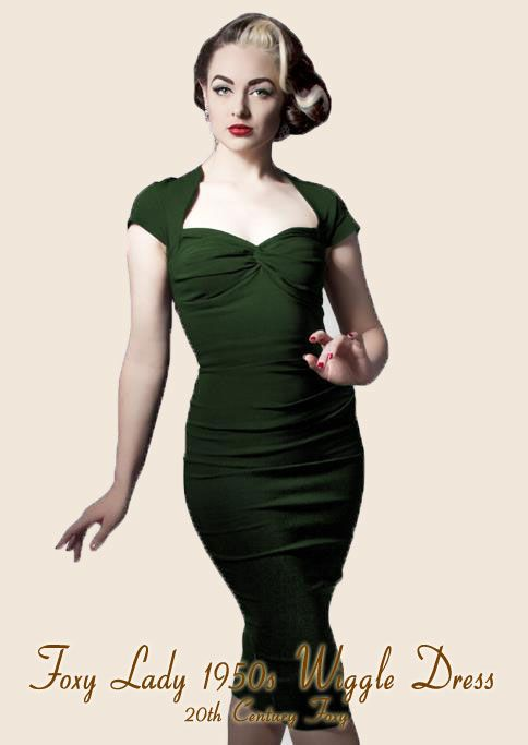 Foxy-Lady-50s-Wiggle-Dress---vintage-green. http://www ...