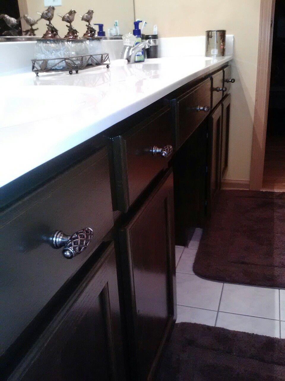 DIY stained bathroom cabinets 10$ POLYSHADES MINWAX HONEY OAK, will ...