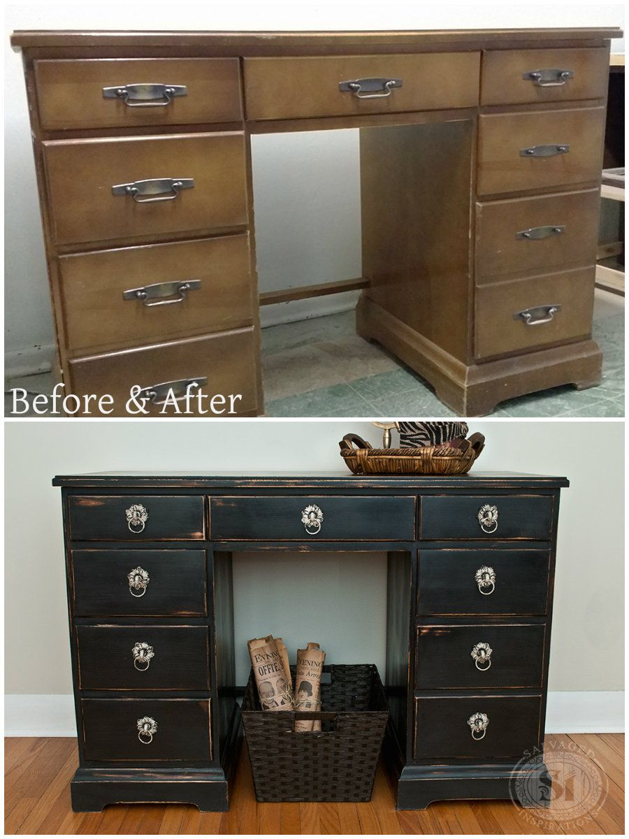Painting furniture black distressed - Before And After Desk Distressed Using 100 Beeswax Easy Tutorial On How To Get Distressed Deskblack Distressed Furniturehow